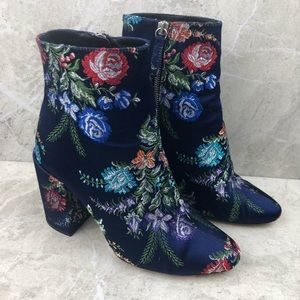 Zara collection embroidered floral booties, 7.5